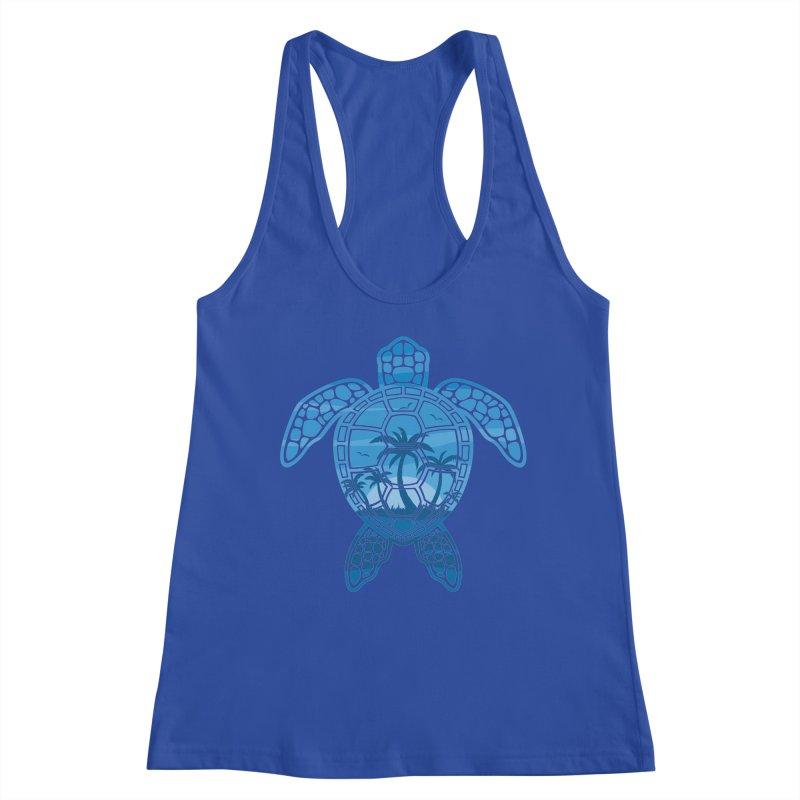 Tropical Island Sea Turtle Design in Blue Women's Racerback Tank by Fizzgig's Artist Shop