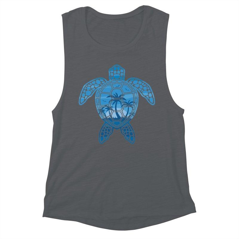 Tropical Island Sea Turtle Design in Blue Women's Muscle Tank by Fizzgig's Artist Shop