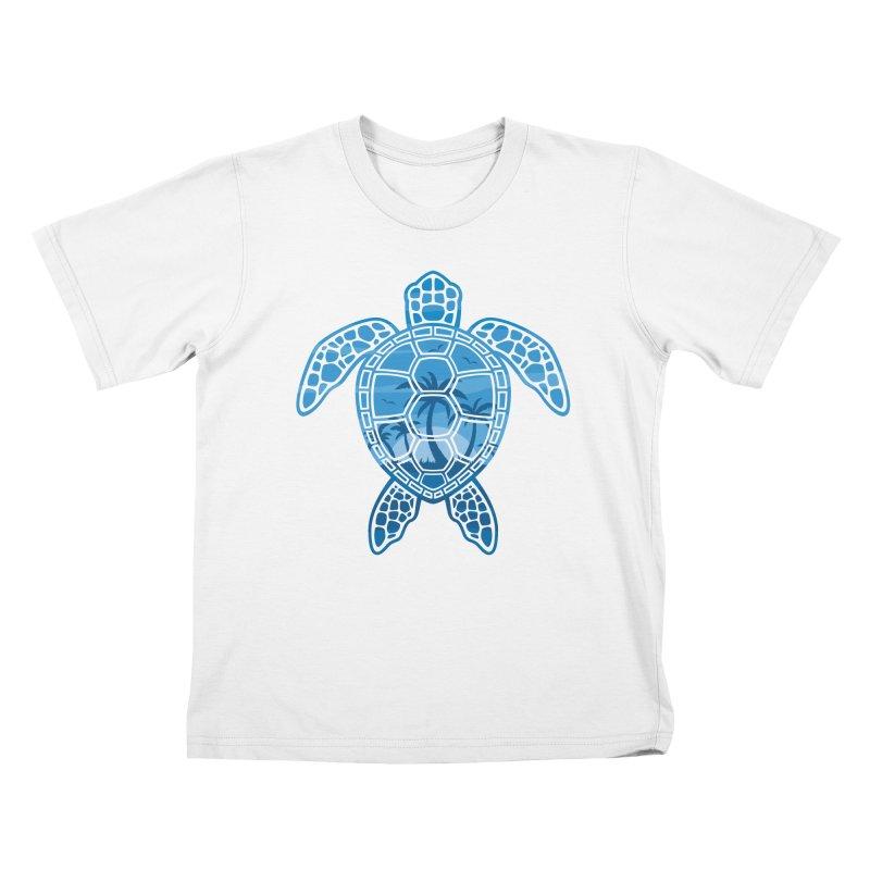 Tropical Island Sea Turtle Design in Blue Kids T-Shirt by Fizzgig's Artist Shop