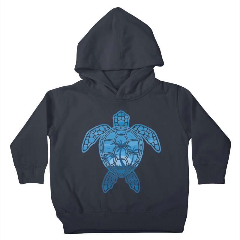 Tropical Island Sea Turtle Design in Blue Kids Toddler Pullover Hoody by Fizzgig's Artist Shop