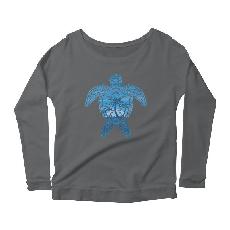 Tropical Island Sea Turtle Design in Blue Women's Scoop Neck Longsleeve T-Shirt by Fizzgig's Artist Shop