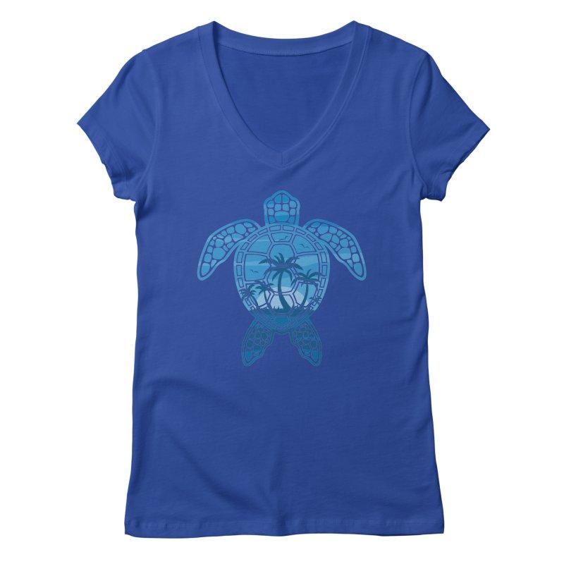 Tropical Island Sea Turtle Design in Blue Women's Regular V-Neck by Fizzgig's Artist Shop