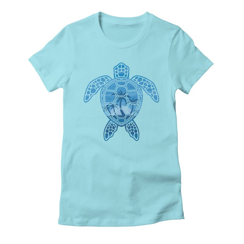 Tropical Island Sea Turtle Design in Blue Women's Fitted T-Shirt by Fizzgig's Artist Shop