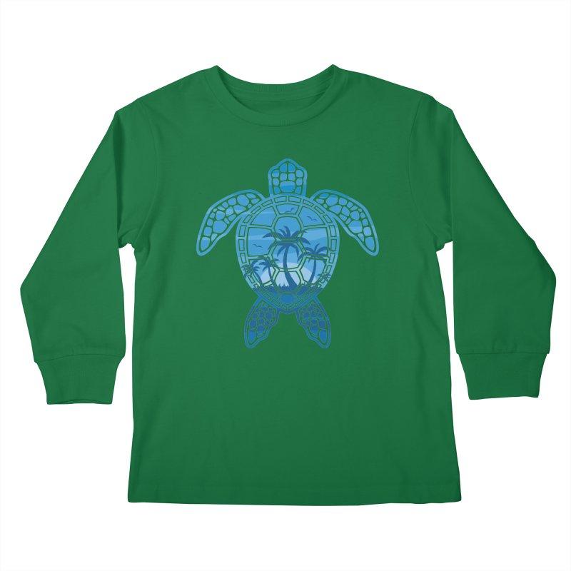 Tropical Island Sea Turtle Design in Blue Kids Longsleeve T-Shirt by Fizzgig's Artist Shop