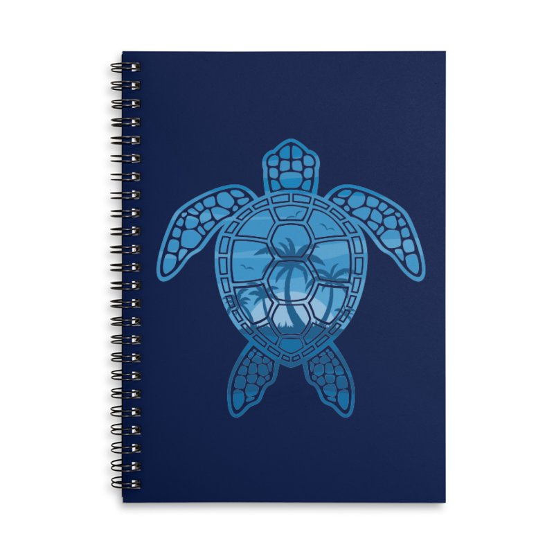 Tropical Island Sea Turtle Design in Blue Accessories Lined Spiral Notebook by Fizzgig's Artist Shop