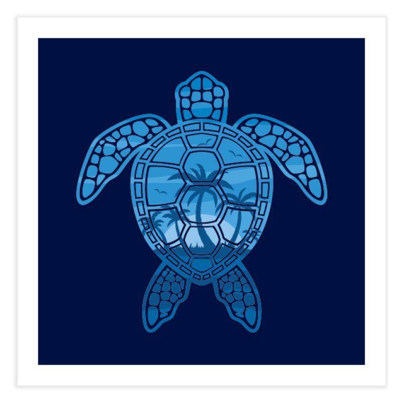 Tropical Island Sea Turtle Design in Blue Home Fine Art Print by Fizzgig's Artist Shop
