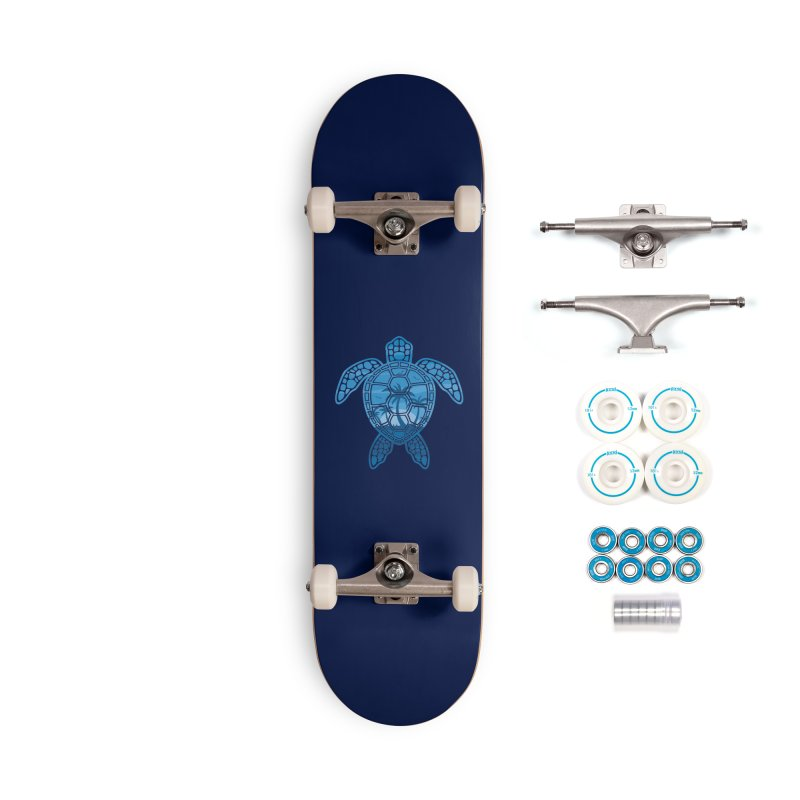Tropical Island Sea Turtle Design in Blue Accessories Complete - Basic Skateboard by Fizzgig's Artist Shop