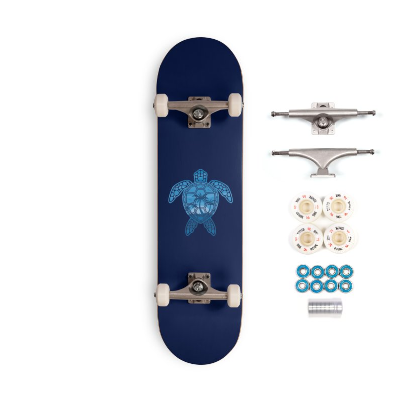 Tropical Island Sea Turtle Design in Blue Accessories Complete - Premium Skateboard by Fizzgig's Artist Shop