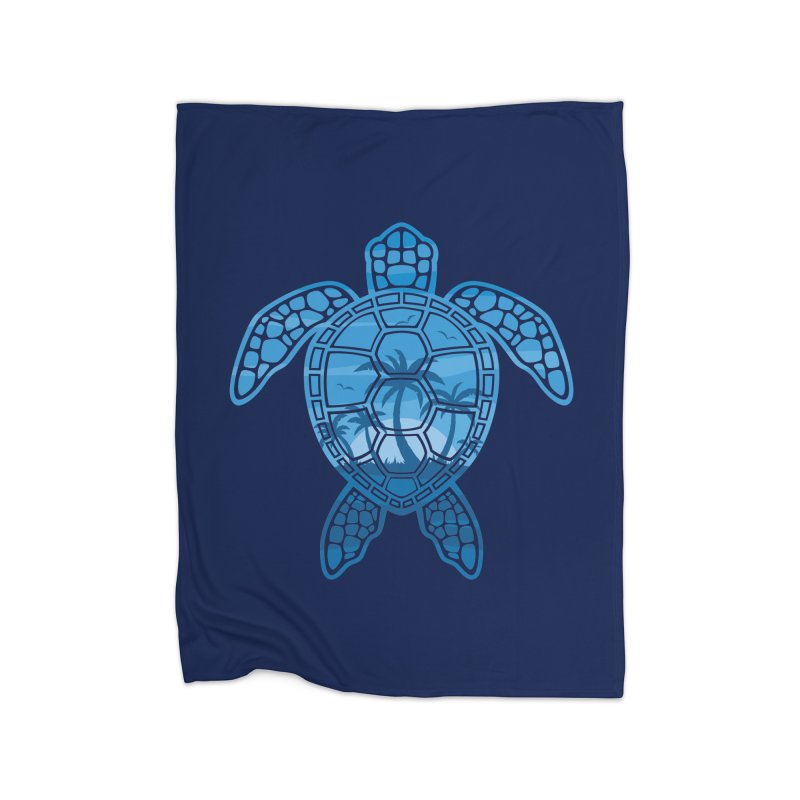 Tropical Island Sea Turtle Design in Blue Home Fleece Blanket Blanket by Fizzgig's Artist Shop