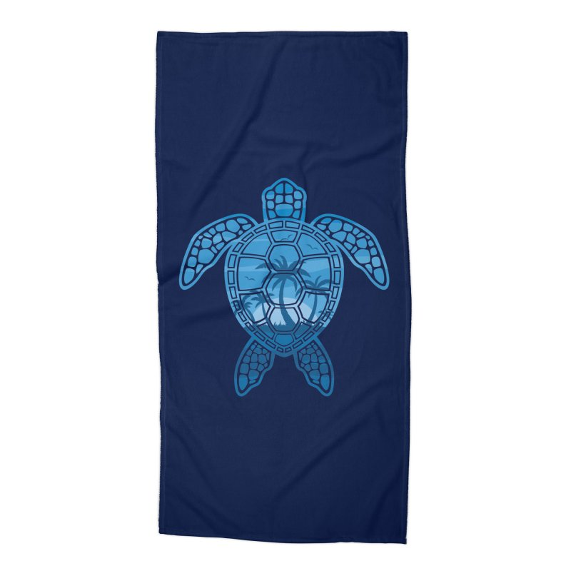 Tropical Island Sea Turtle Design in Blue Accessories Beach Towel by Fizzgig's Artist Shop