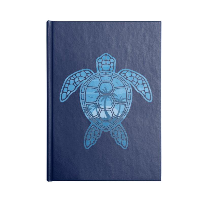 Tropical Island Sea Turtle Design in Blue Accessories Blank Journal Notebook by Fizzgig's Artist Shop