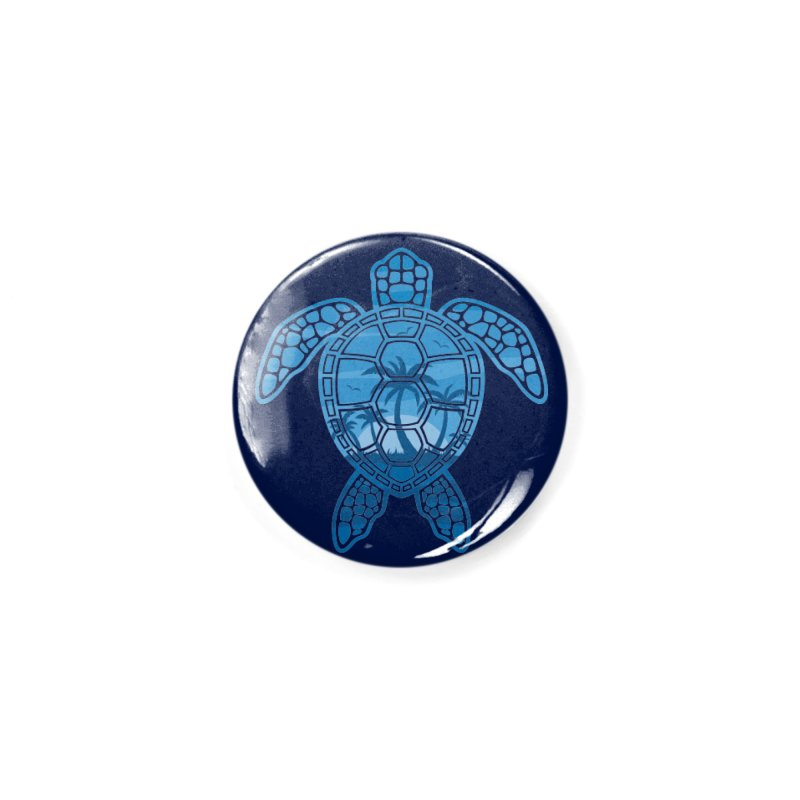 Tropical Island Sea Turtle Design in Blue Accessories Button by Fizzgig's Artist Shop
