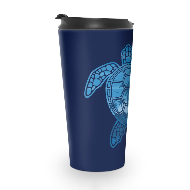 Tropical Island Sea Turtle Design in Blue Accessories Travel Mug by Fizzgig's Artist Shop