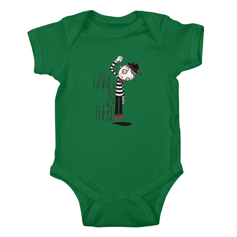 Hang In There Mime Kids Baby Bodysuit by Fizzgig's Artist Shop