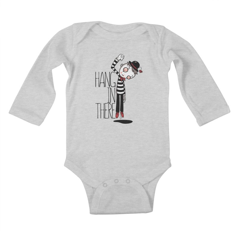 Hang In There Mime Kids Baby Longsleeve Bodysuit by Fizzgig's Artist Shop