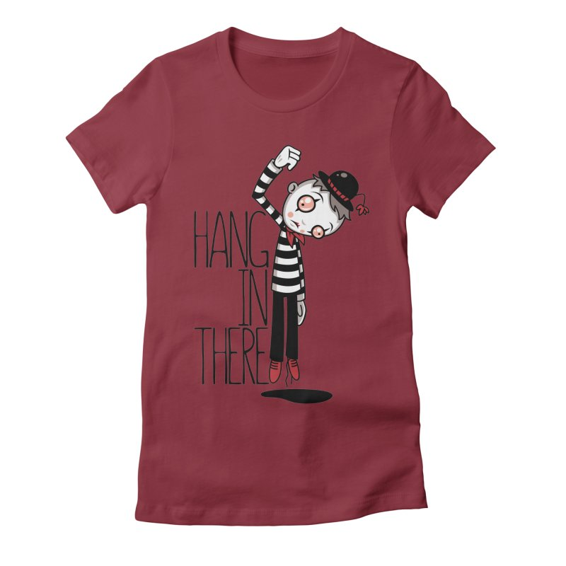 Hang In There Mime Women's Fitted T-Shirt by Fizzgig's Artist Shop