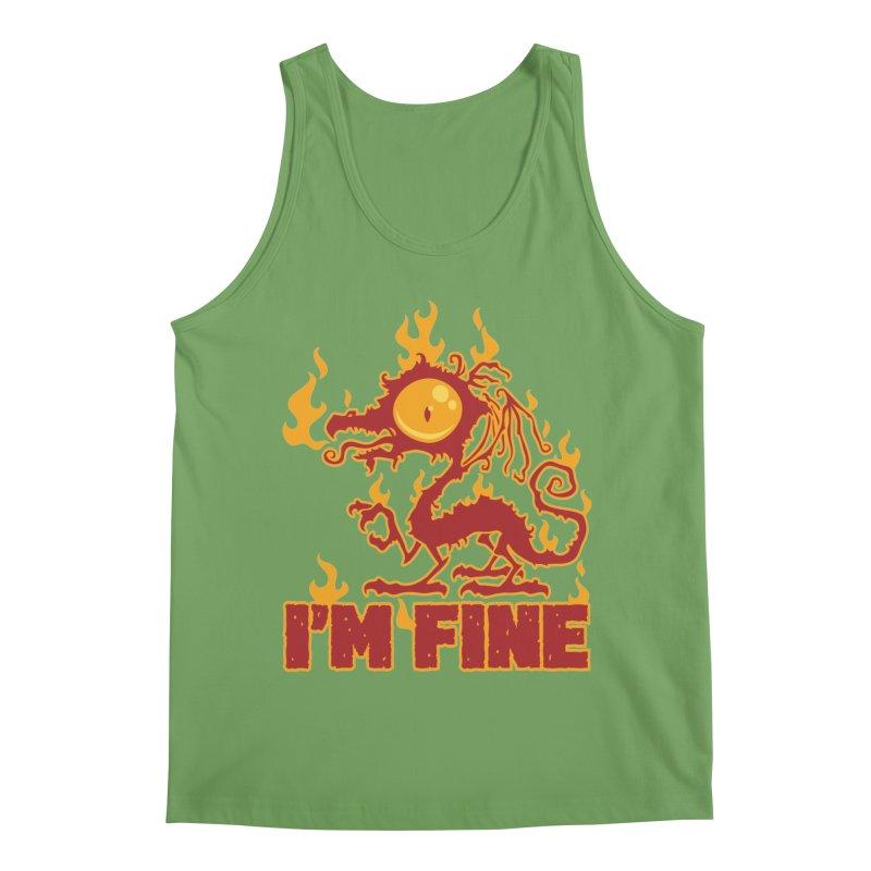 I'm Fine Burning Dragon Men's Tank by Fizzgig's Artist Shop