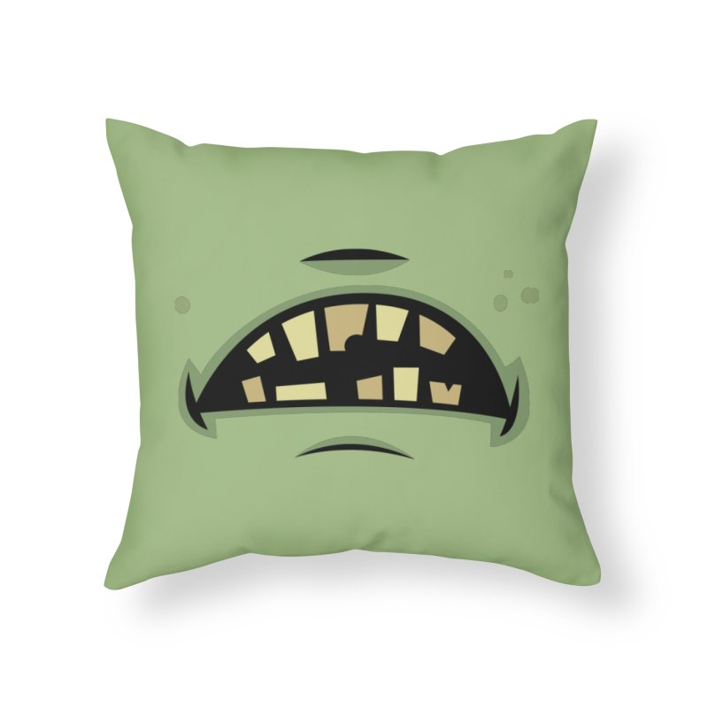 Zombie Frankenstein Monster Mouth Home Throw Pillow by Fizzgig's Artist Shop