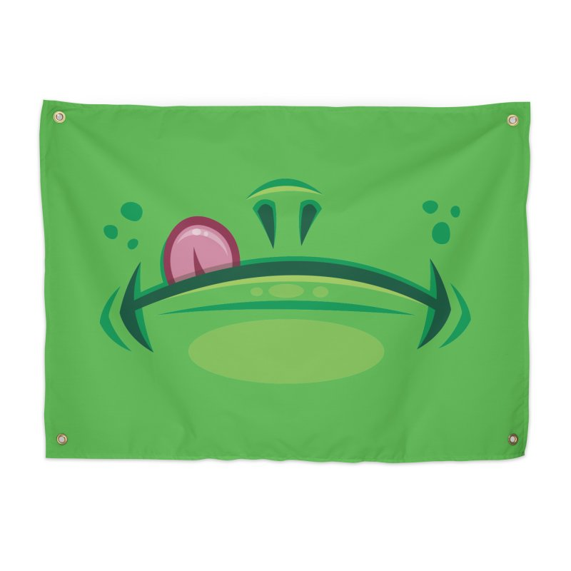 Cartoon Frog Mouth with Tongue Home Tapestry by Fizzgig's Artist Shop