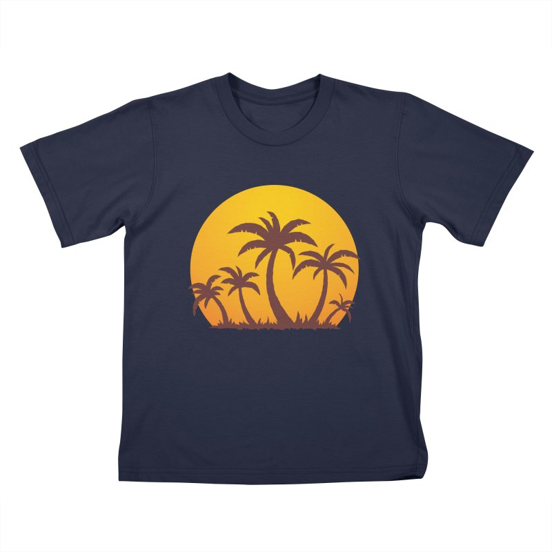 Palm Trees and Sunset Kids T-Shirt by Fizzgig's Artist Shop
