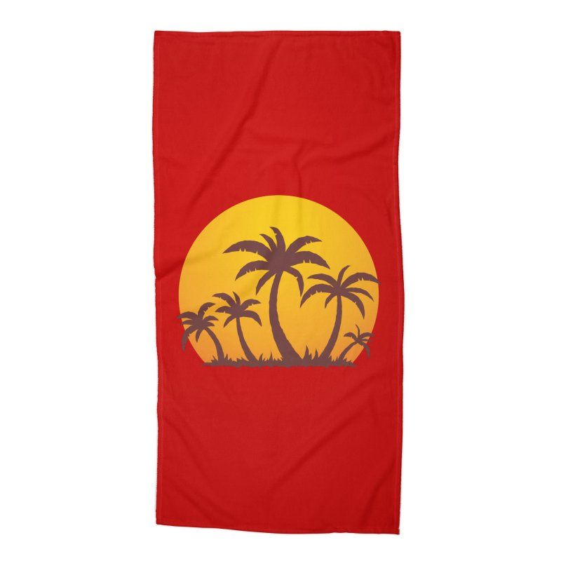 Palm Trees and Sunset Accessories Beach Towel by Fizzgig's Artist Shop