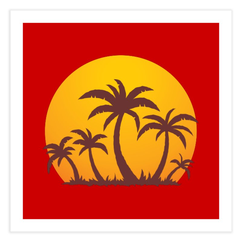 Palm Trees and Sunset Home Fine Art Print by Fizzgig's Artist Shop