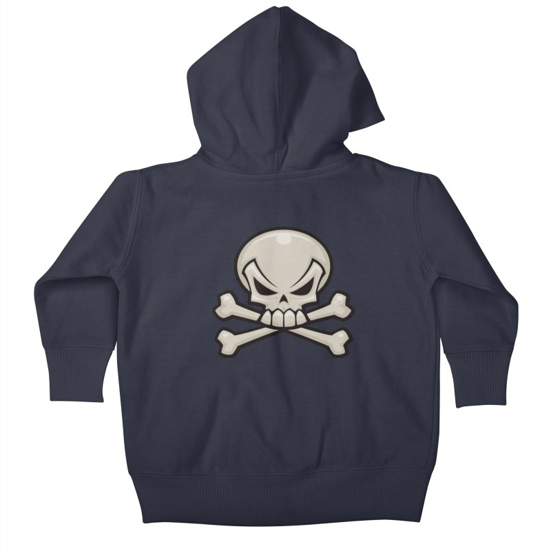 Skull and Crossbones Kids Baby Zip-Up Hoody by Fizzgig's Artist Shop