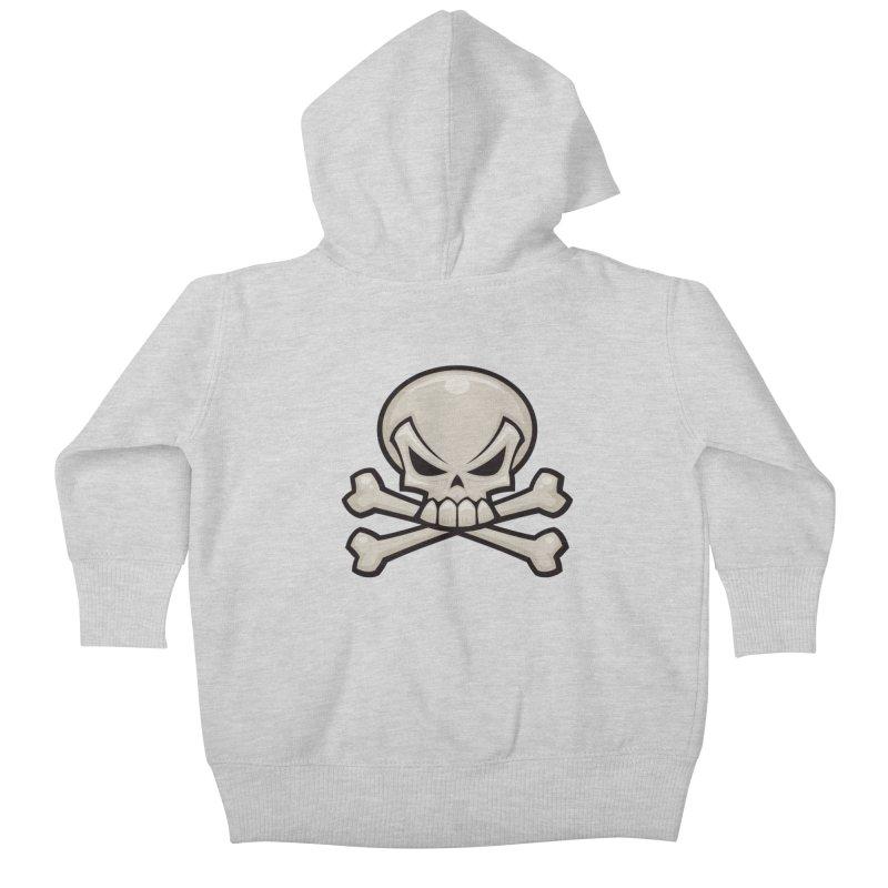 Skull and Crossbones Kids Baby Zip-Up Hoody by Fizzgig's Artist Shop