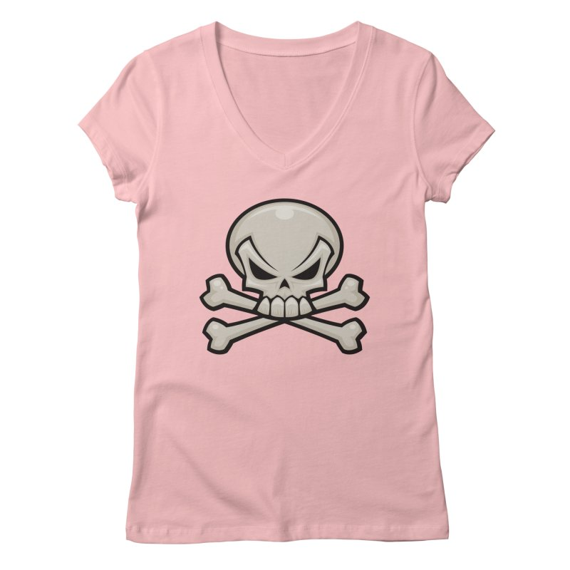 Skull and Crossbones Women's V-Neck by Fizzgig's Artist Shop