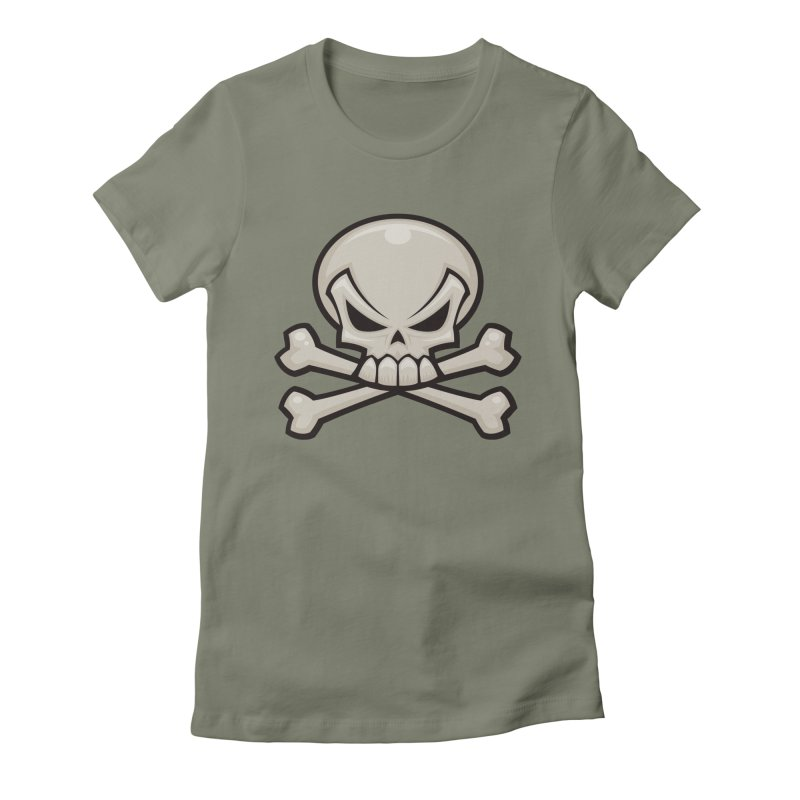Skull and Crossbones Women's Fitted T-Shirt by Fizzgig's Artist Shop