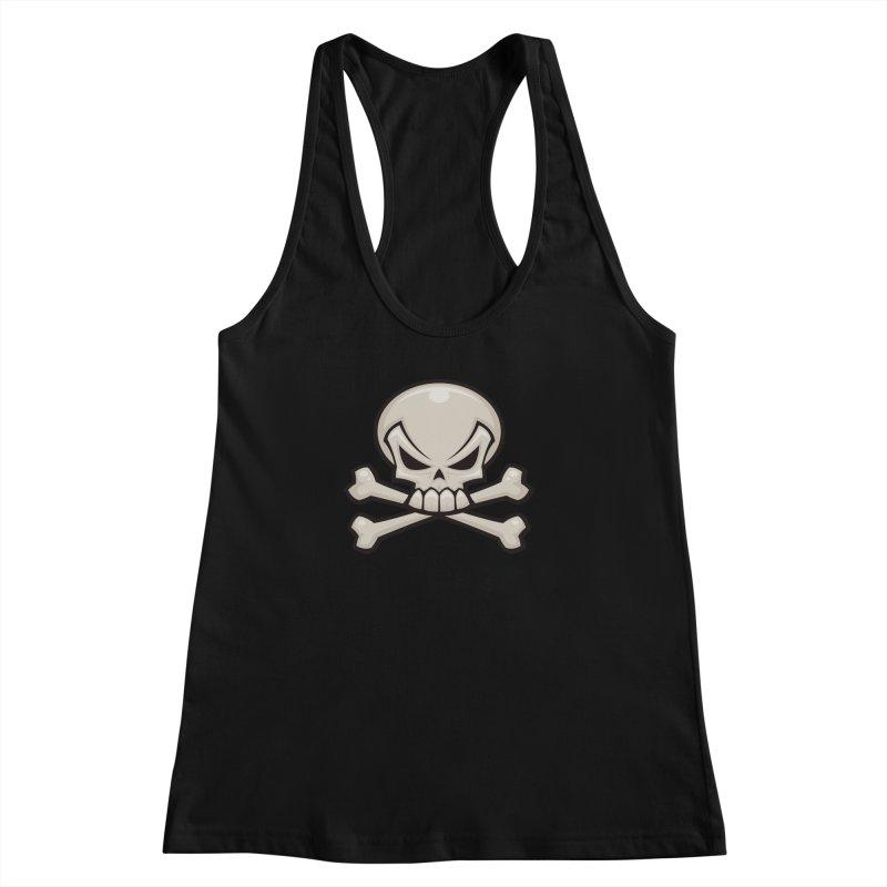 Skull and Crossbones Women's Racerback Tank by Fizzgig's Artist Shop