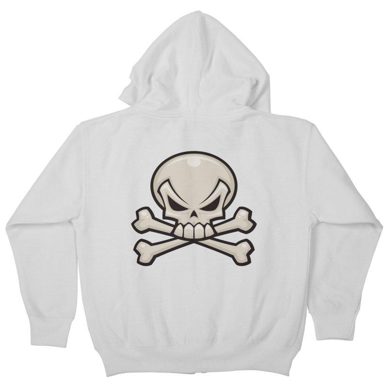 Skull and Crossbones Kids Zip-Up Hoody by Fizzgig's Artist Shop
