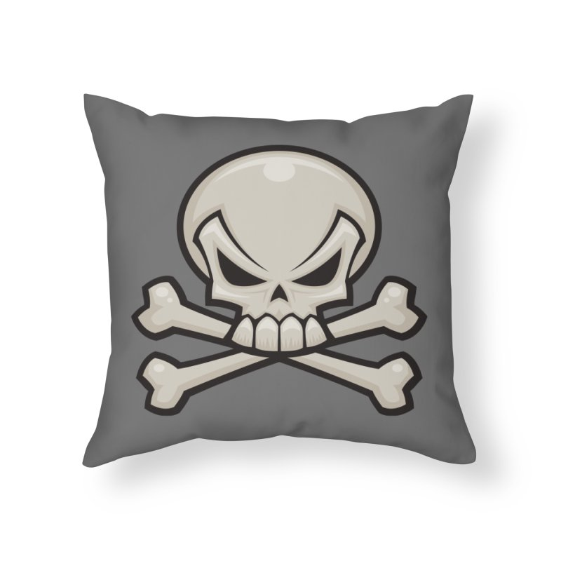 Skull and Crossbones Home Throw Pillow by Fizzgig's Artist Shop