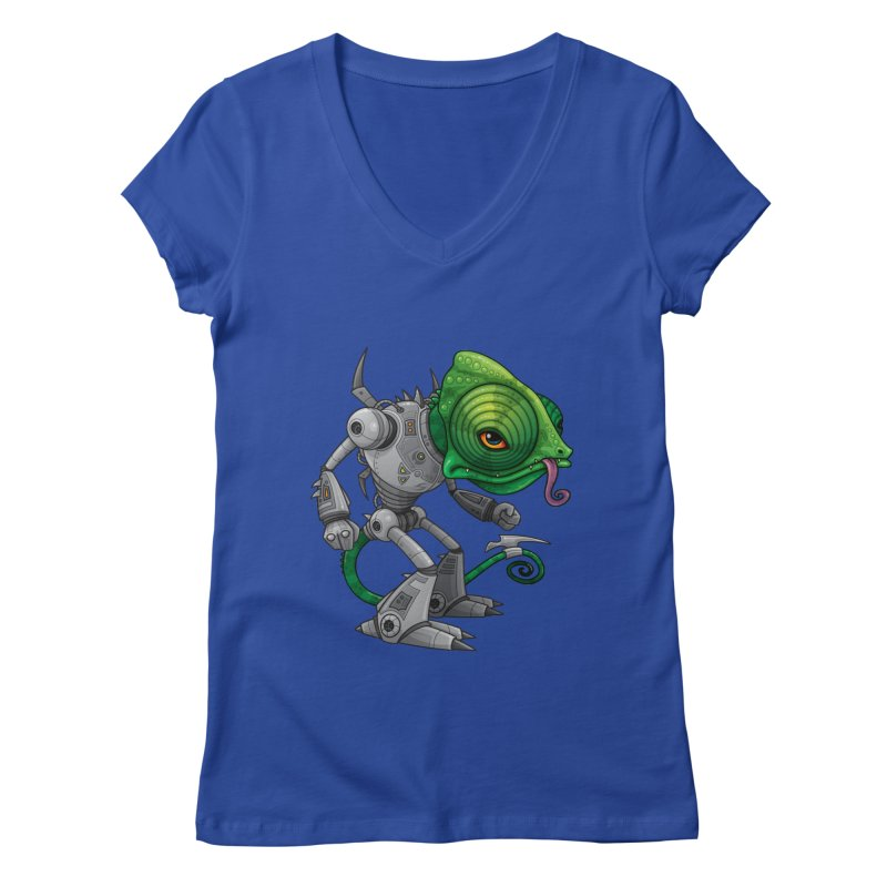 Chameleozoid Women's V-Neck by Fizzgig's Artist Shop