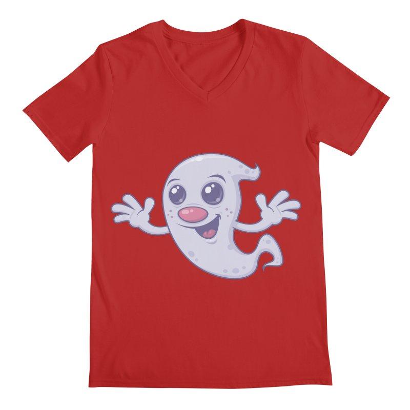 Cute Retro Ghost Men's V-Neck by Fizzgig's Artist Shop