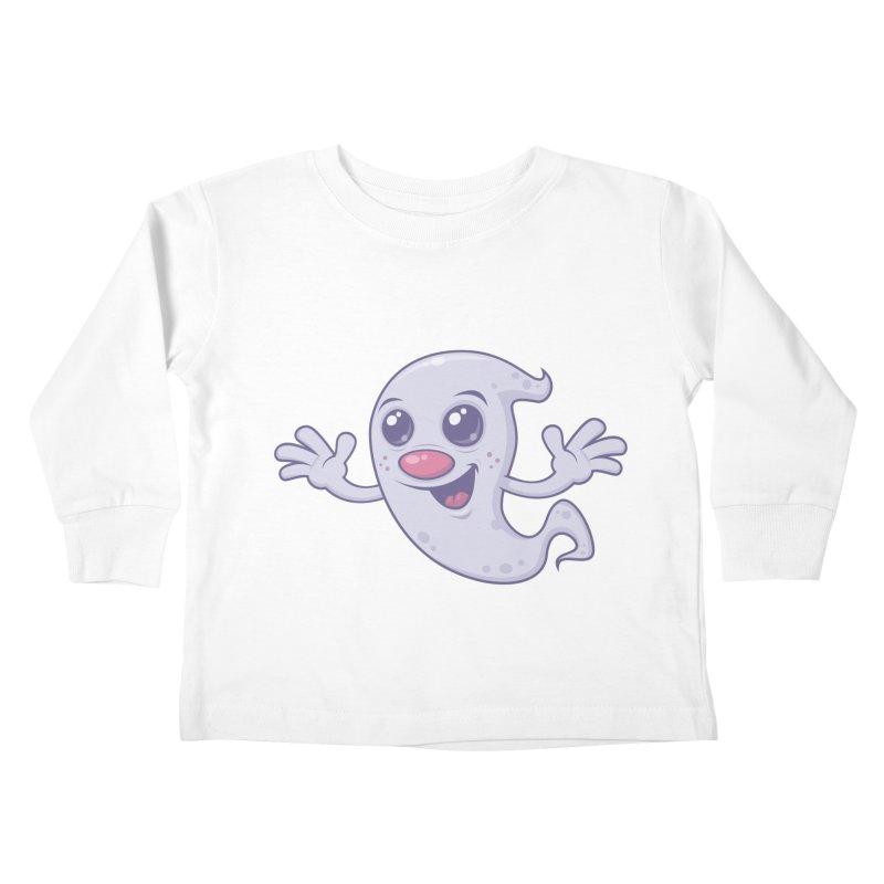 Cute Retro Ghost Kids Toddler Longsleeve T-Shirt by Fizzgig's Artist Shop