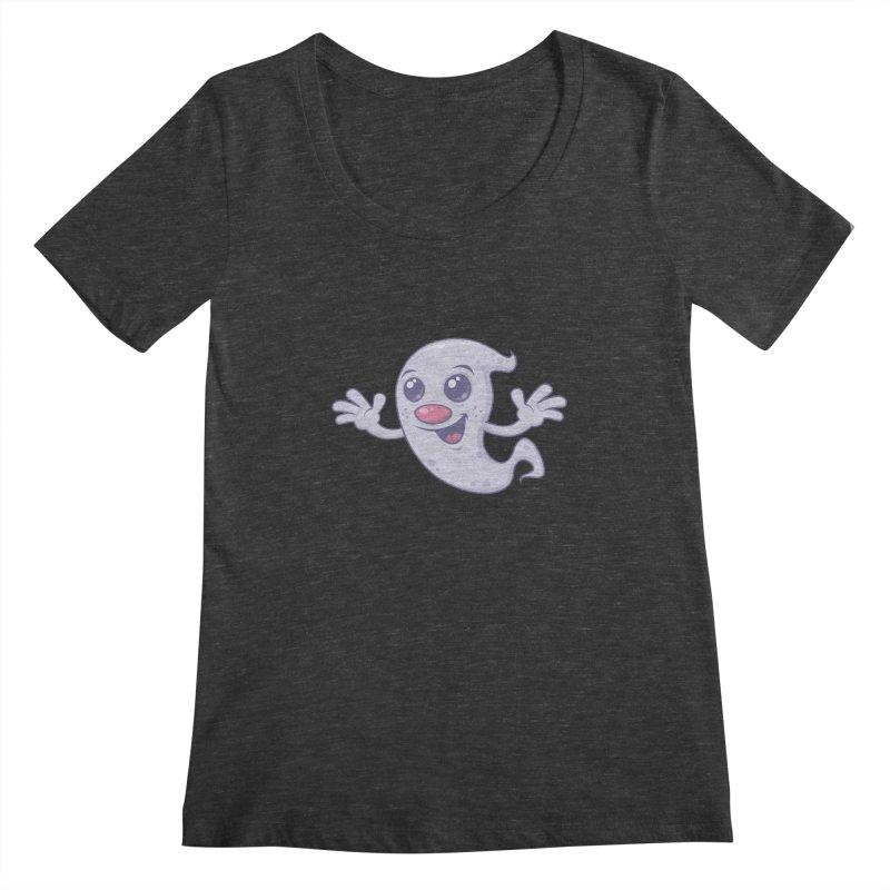 Cute Retro Ghost Women's Scoopneck by Fizzgig's Artist Shop