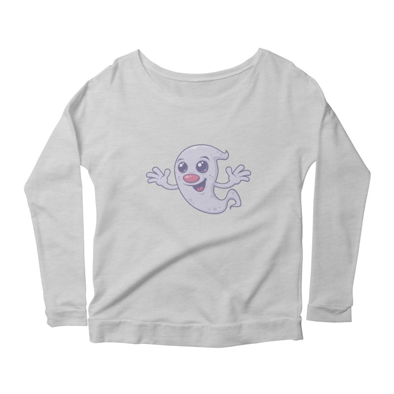 Cute Retro Ghost Women's Longsleeve Scoopneck  by Fizzgig's Artist Shop