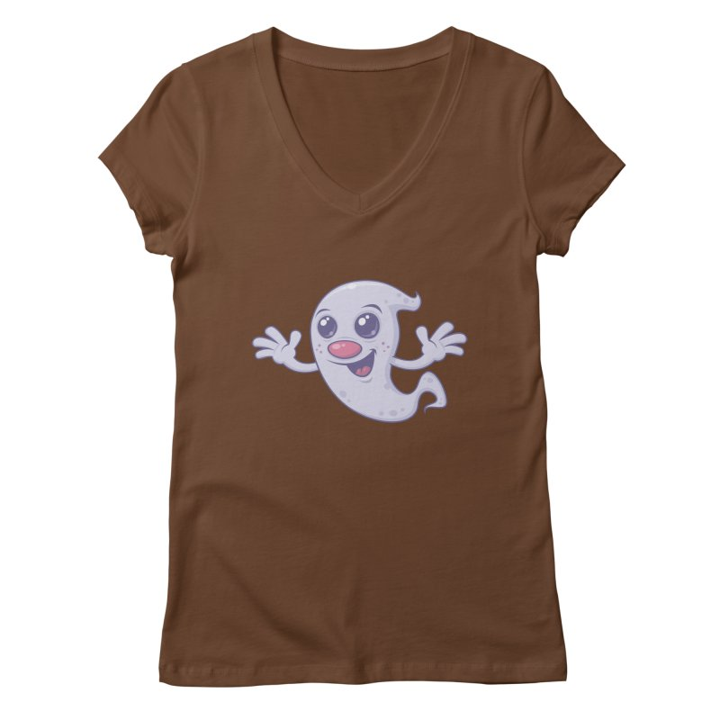 Cute Retro Ghost Women's V-Neck by Fizzgig's Artist Shop