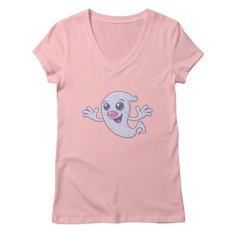 Cute Retro Ghost Women's V-Neck by Fizzgig's Artist Shop