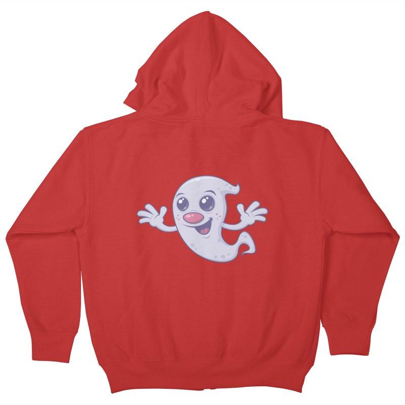 Cute Retro Ghost Kids Zip-Up Hoody by Fizzgig's Artist Shop