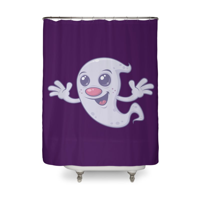 Cute Retro Ghost Home Shower Curtain by Fizzgig's Artist Shop