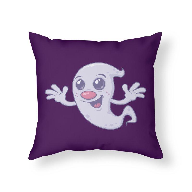 Cute Retro Ghost Home Throw Pillow by Fizzgig's Artist Shop