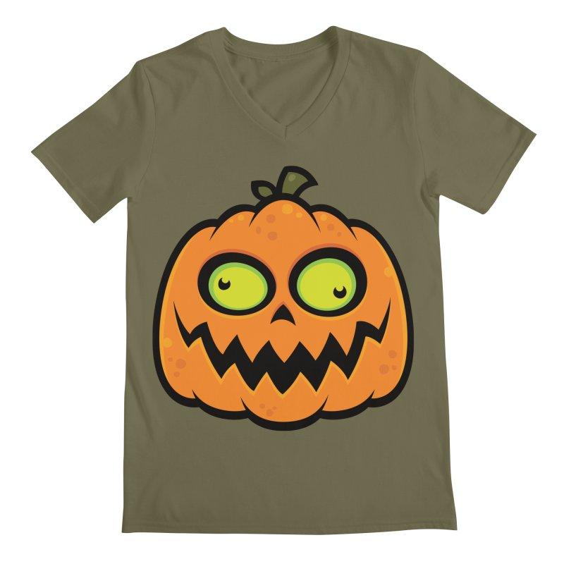 Crazy Pumpkin Men's V-Neck by Fizzgig's Artist Shop