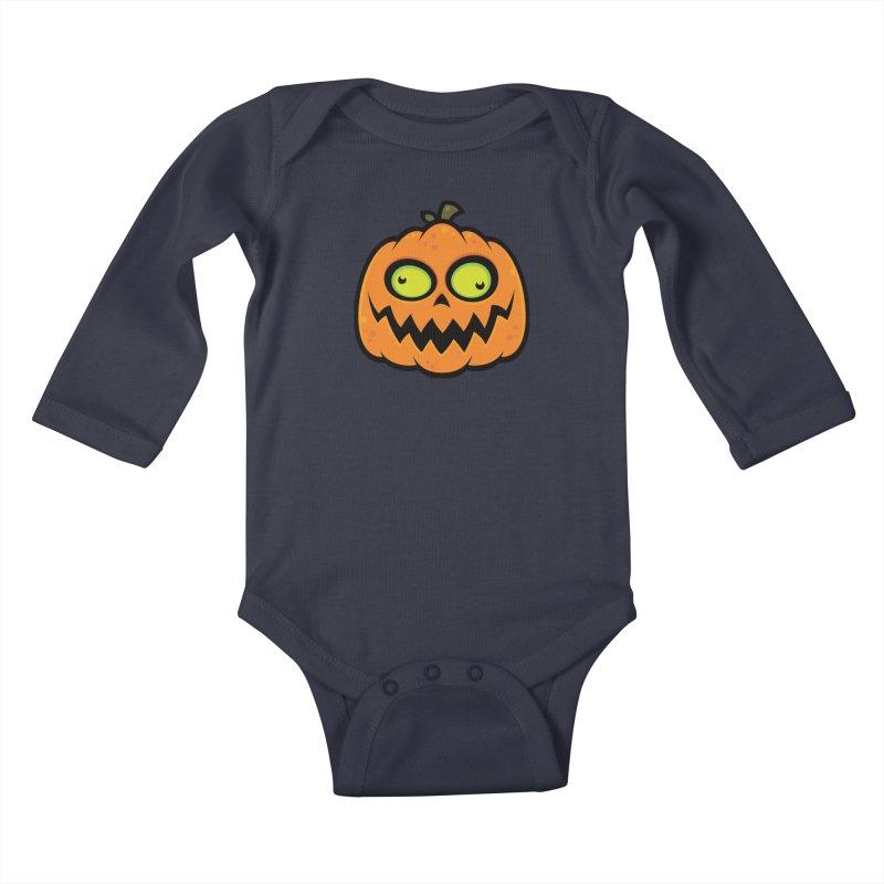 Crazy Pumpkin Kids Baby Longsleeve Bodysuit by Fizzgig's Artist Shop