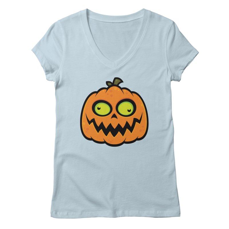 Crazy Pumpkin Women's V-Neck by Fizzgig's Artist Shop