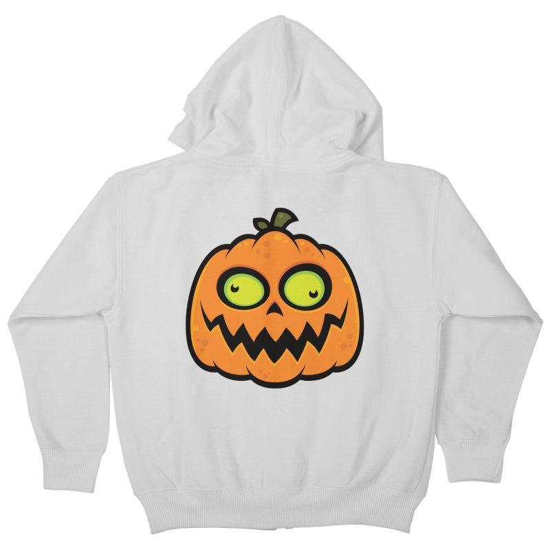 Crazy Pumpkin Kids Zip-Up Hoody by Fizzgig's Artist Shop