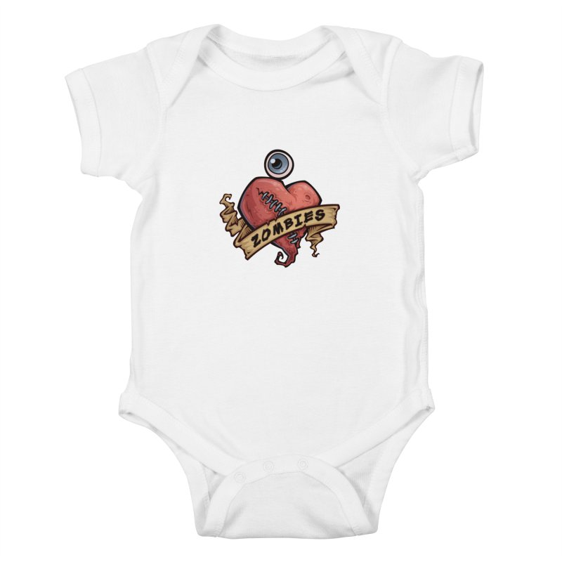 I Love Zombies Kids Baby Bodysuit by Fizzgig's Artist Shop