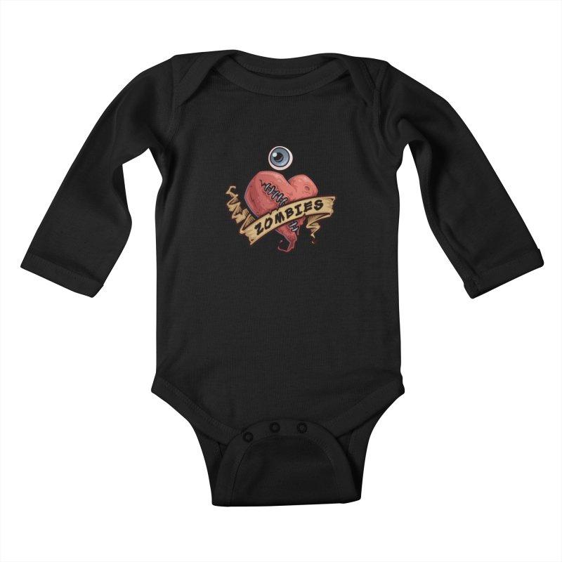 I Love Zombies Kids Baby Longsleeve Bodysuit by Fizzgig's Artist Shop