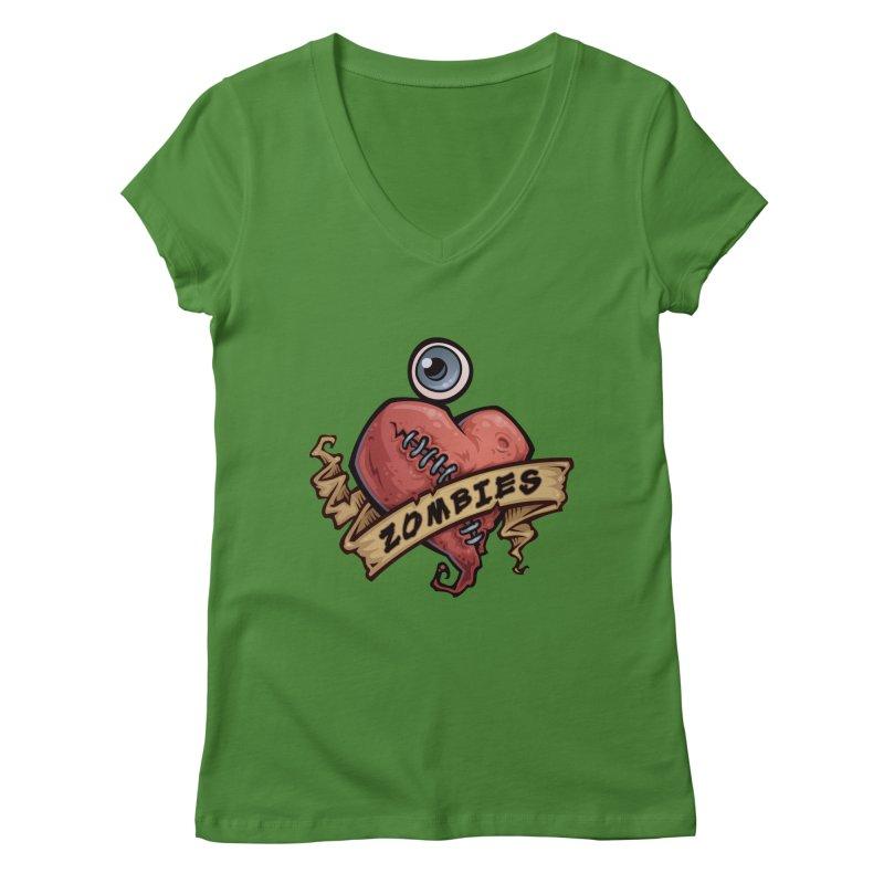I Love Zombies Women's V-Neck by Fizzgig's Artist Shop